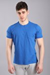 Erkek Bisiklet Yaka Cepli Kısa Kollu Slim Fit Saks T-shirt