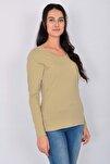 Pamuk Likralı Uzun Kollu Kadın T-shirt Bej
