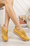 Hakiki Deri Sarı Kadın Deri Babet Dp16-0061
