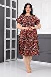 Kadın Kırmızı Büyük Beden Midi Çiçekli Yazlık Elbise