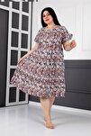 Kadın Gri Büyük Beden Midi Çiçekli Yazlık Elbise