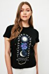 Siyah Baskılı Basic Örme T-Shirt TWOSS21TS1953