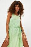 Mint Derin Yırtmaçlı Örme Plaj Elbisesi TBESS21EL2991