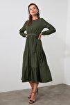 Haki Kuşaklı Kadife Büzgülü Elbise TWOAW20EL2133