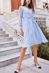 Kadın Bebe Mavisi Kruvaze Yaka Şifon Elbise