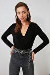 Siyah Kruvaze Yaka Çıtçıtlı Örme Body TWOAW20BD0035