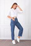 Kadın Mavi Yüksek Bel Mom Jeans Kot Pantolon