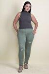 Kadın Haki Taş Ve Yırtık Detaylı Likralı Pantolon 65N17889
