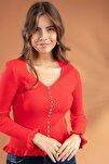 Kadın KIRMIZI V Yaka İnci İşlemeli Fırfır Detaylı Triko Kazak Y20W106-0376