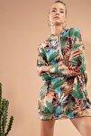 Kadın Yeşil Mavi Tropikal Desenli Kapşonlu Sweatshirt Elbise Y20W110-4125-11