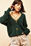 Kadın Yeşil 3 Düğmeli V Yaka Triko Hırka 10121004