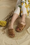 Kadın Kahverengi Yena Önü Açık Peluş Terlik