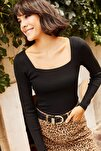 Kadın Siyah Kare Yaka Basic Triko Bluz BLZ-19001114