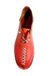 Kadın Nar Kırmızı Hakiki Deri Çarık Model Ayakkabı