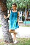 Kadın Yeşil V Desen Batik Elbise