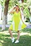 Kadın Sarı Kısa Çan V Desen Batik Elbise