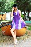 Kadın Mor Kısa Çan V Desen Batik Elbise