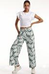 Kadın Bel Lastikli Salaş Bol Paça Pantolon/mint Yeşil/s
