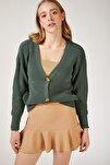 Kadın Canlı Çağla Yeşili V Yakalı Düğmeli Triko Hırka ZA00025