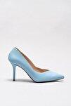 Hakiki Deri Açık Mavı Kadın Ayakkabı