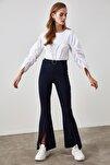 Lacivert Taşlı Kemerli Yırtmaç Detaylı Örme Pantolon TWOSS20PL0100