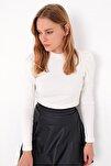 Kadın Ekru Prenses Kol Yarım Balıkçı Şardonlu Crop Bluz ALC-X5042