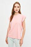 Pembe Kolsuz Basic Örme T-Shirt TWOSS20TS0021