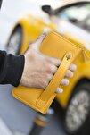 Orleans Hakiki Deri Hardal Sarısı Telefon Bölmeli El Çantası Cüzdan Kartlık