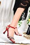 Kırmızı Simli Kadın Topuklu Ayakkabı