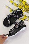 Kadın Siyah Çiçek Desenli Step  Cırtlı Trekking Sandalet