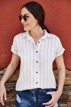 Kadın Bej Çizgili Kısa Kol Gömlek ARM-19Y001067