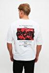 Beyaz Erkek Oversize Baskılı Kısa Kollu T-Shirt TMNSS21TS0878