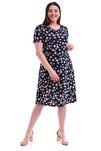 Kadın Papatya Desenli Kısa Kol Elbise