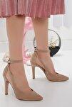 Kadın Stiletto Yüksek Topuk Ten Süet