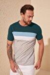 Zümrüt Yeşili Erkek Çizgili Slim Fit T-Shirt TMNSS20TS0166
