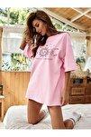 Kadın Pudra Pembe Oversize Celestial Sun Moon Baskılı T-shirt
