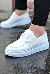 Erkek Keten Beyaz Sneaker Spor Ayakkabı Elita