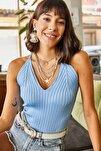 Kadın Bebe Mavi Sırtı Çapraz Polyamid Bluz BLZ-19000461