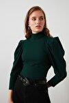 Zümrüt Yeşili Kolları Büzgü Detaylı Bakıkçı Yaka Fitilli Örme Bluz TWOAW20BZ0274