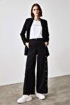 Siyah Düğme Detaylı Pantolon TWOSS20PL0398