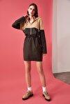 Kahverengi Kapüşonlu Elbise TWOAW20EL1654