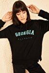 Kadın Georgia Baskılı Siyah Kapüşonlu Sweatshirt