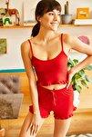 Kadın Kırmızı Askılı Fırfırlı Pijama Takımı