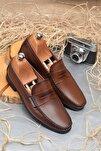 Erkek Kahverengi Günlük Klasik Hakiki Deri Ayakkabı