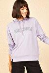 Kadın Lila Georgia Baskılı Kapüşonlu Sweatshirt 10141026