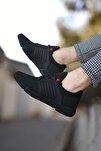 Siyah Kırmızı Cilt Erkek Sneaker 0012105