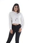 Kadın Beyaz Kapüşonlu Crop  Sweatshirt