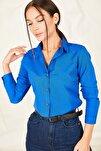 Kadın Saks Uzun Kollu Düz Gömlek ARM-19K001200