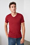 Bordo Erkek Basic Slim Fit T-Shirt - Pamuklu V Yaka Slim Fit T-Shirt TMNSS19BO0002