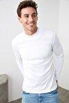 Beyaz Erkek Slim Fit Uzun Kollu Yarım Balıkçı Yaka Basıc T-shirt TMNAW20TS0210